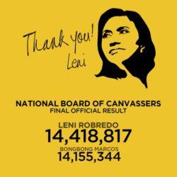 Congratulations Vice President Leni Robredo!